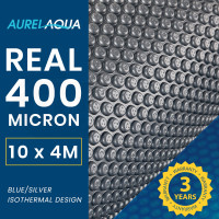 AURELAQUA 400 Micron 10x4m Solar Thermal Blanket Swimming Pool Cover, Blue and Silver