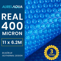 AURELAQUA 400 Micron 11x6.2m Solar Thermal Blanket Swimming Pool Cover, Blue