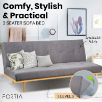 FORTIA Fabric Sofa Bed Lounge, Light Grey