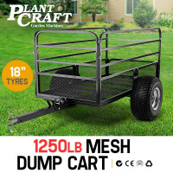 PRE-ORDER PLANTCRAFT Towed Steel Mesh Dump Cart Garden ATV Mower Trailer Tray 1250lbs