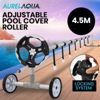 Aurelaqua 4.5m Swimming Pool Cover Roller with Black/Light Grey Handle
