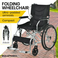 "EQUIPMED 20"" Folding Wheelchair with Brakes and Foldable Backrest, Black"