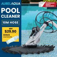Aurelaqua Automatic Swimming Pool Cleaner Vacuum, 10M Hose, Bonus Diaphram, White