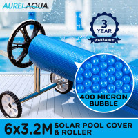 AURELAQUA Solar Swimming Pool Cover + Roller Wheel Adjustable 400 Bubble 6 x 3.2