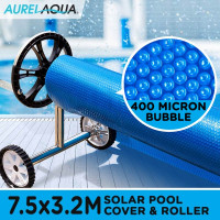 AURELAQUA Solar Swimming Pool Cover + Roller Wheel Adjustable 400 Bubble 7.5x3.2 Blue