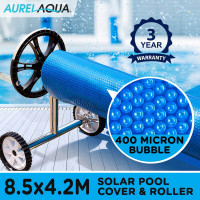 AURELAQUA Solar Swimming Pool Cover + Roller Wheel Adjustable 400 Bubble 8.5x4.2 Blue