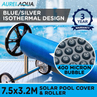 AURELAQUA Solar Swimming Pool Cover + Roller Wheel Adjustable 400 Bubble 7.5x3.2 Blue and Silver