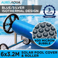 AURELAQUA Solar Swimming Pool Cover + Roller Wheel Adjustable 400 Bubble 6 x3.2M