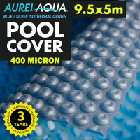 AURELAQUA Solar Swimming Pool Cover 400 Micron Heater Bubble Blanket 9.5x5m Blue and Silver
