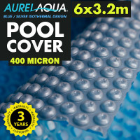 AURELAQUA Solar Swimming Pool Cover 400 Micron Heater Bubble Blanket 6x3.2m Blue and Silver