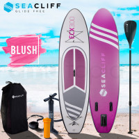 SEACLIFF 10ft Inflatable SUP Stand Up Paddleboard, White, Pink and Purple