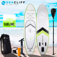 SEACLIFF 10ft Inflatable SUP Stand Up Paddleboard, White and Lime Green