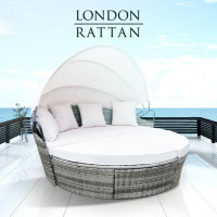 PRE-ORDER LONDON RATTAN Outdoor Day Bed, Grey Wicker, White Canopy