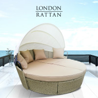 PRE-ORDER LONDON RATTAN Outdoor Day Bed, Beige Wicker, White Canopy