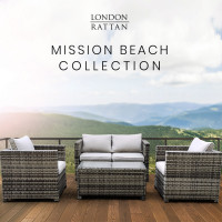 LONDON RATTAN 4pc Outdoor Furniture Wicker Lounge Set with Coffee Table and Chairs