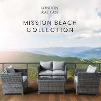 LONDON RATTAN 4pc Outdoor Furniture Wicker Lounge Set with Chairs and Coffee Table