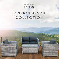 LONDON RATTAN 4pc Outdoor Furniture Wicker with Coffee Table and Chairs Lounge Set
