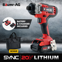 BAUMR-AG 20V SYNC Cordless Lithium Impact Driver Kit, with Battery, Charger, Carry Bag