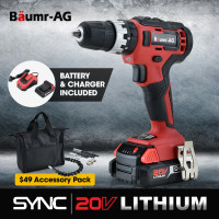 BAUMR-AG 20V SYNC Cordless Lithium Power Drill Kit, with Battery, Charger, Hammer Drill Function, Accessory Kit
