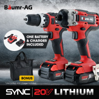 BAUMR-AG 20V Cordless Drill and Impact Driver Kit with SYNC Battery and Charger
