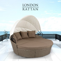 LONDON RATTAN Outdoor Day Bed, Beige Wicker, White Canopy