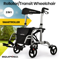 EQUIPMED 2-in-1 Aluminium Rollator and Transit Wheelchair, for Seniors Elderly, Silver