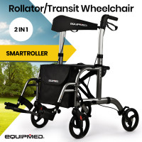 EQUIPMED 2-in-1 Aluminium Rollator and Transit Wheelchair, for Seniors Elderly, Grey
