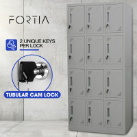 FORTIA 12-Door Steel Storage Lockers, for Gym Office, Grey
