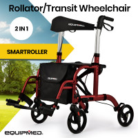 EQUIPMED 2-in-1 Aluminium Rollator and Transit Wheelchair, for Seniors Elderly, Red