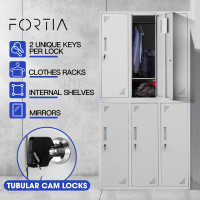 FORTIA 6-Door Metal Gym Storage Lockers, Cam Locks, Clothes Racks, Mirrors, Grey