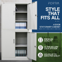 FORTIA 4-Door Steel Stationary Cabinet, Cam Locks, Shelves, Grey