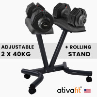 ATIVAFIT 2 x 40kg Adjustable Weight Dumbbell Set with Rolling Stand, for Home Gym Fitness Strength Training