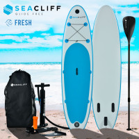 SEACLIFF 300cm Inflatable SUP Stand Up Paddleboard with GoPro Mount, White and Blue