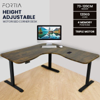 FORTIA Height Adjustable Standing Corner Desk Sit Stand, Electric, Motorised Office Walnut Style with Black Frame