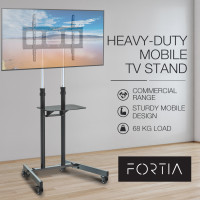 FORTIA Tall Mobile TV Stand for 37-70 Inch Television Screens Adjustable Universal Holds 68kg Black