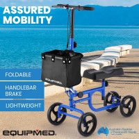 EQUIPMED Knee Walker Scooter, Dual Brakes, Alternative to Crutches, Blue