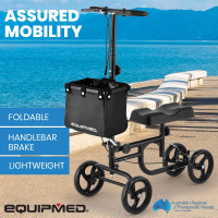 EQUIPMED Knee Walker Scooter, Dual Brakes, Alternative to Crutches, Black