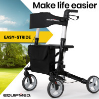 EQUIPMED Foldable Aluminium Walking Frame Rollator with Bag and Seat Black