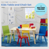 DELTA CHILDREN Kids Premium Wooden Furniture Play Table and 4 Chair Set
