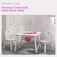 DELTA CHILDREN Kids Premium Princess Wooden Furniture Play Table and 2 Chair Set, White and Pink