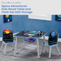 DELTA CHILDREN Kids Premium Space Adventure Wooden Furniture Play Table and 2 Chair Set with Storage
