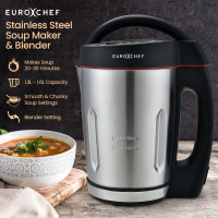 EUROCHEF Soup Maker and Blender, Self-Cleaning, Stainless Steel