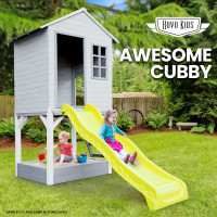 Wooden Tower Cubby House w/ Slide & Sandpit