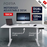 FORTIA Sit/Stand Motorised Curve Height Adjustable Desk 150cm Matte White/White