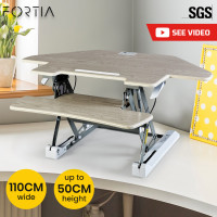 FORTIA Adjustable Standing Desk Riser Monitor Stand for Corner Desk, Beech and Silver