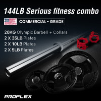 PROFLEX 20kg Olympic Barbell with Collars, and Pairs of Weight Plates, 5lb, 10lb, 35lb