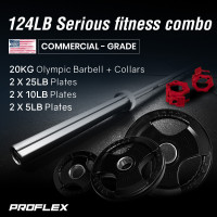 PROFLEX 20kg Olympic Barbell with Collars, and Pairs of Weight Plates, 5lb,10lb, 25lb