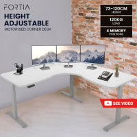 FORTIA Height Adjustable Standing Corner Desk Sit Stand, Electric, Motorised Office White with Silver Frame