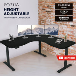 FORTIA Height Adjustable Standing Corner Desk Sit Stand, Electric, Motorised Office Black Frame
