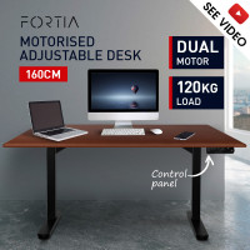 PRE-ORDER FORTIA Sit/Stand Motorised Height Adjustable Desk 160cm Walnut/Black